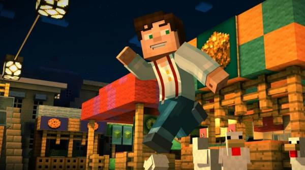 "A promotional image from Minecraft: Story Mode, depicting the protagonist, Jesse (here in ""white male"" form). Jesse is jumping through the air, smiling and waving to someone offscreen right."