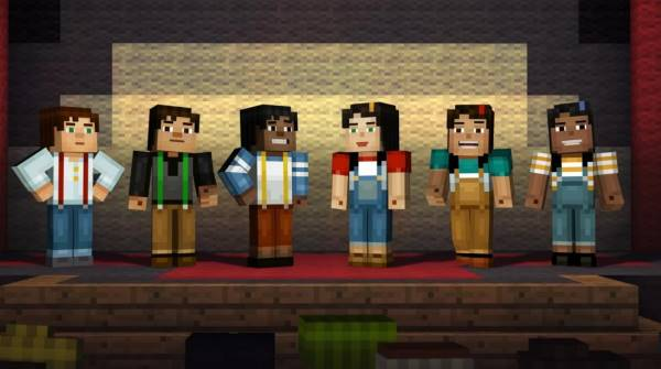 A promotional image from Minecraft; Story Mode, depicting multiple iterations of protagonist Jesse, lined up left-to-right across the screen, in a variety of player-selectable genders and ethnicities.
