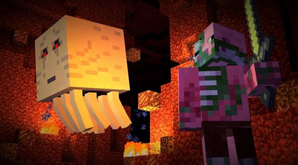 A promotional image from Minecraft; Story Mode, depicting The Nether and two imposing monsters (a Wight and a Zombie Pigman) on what appears to be a monster patrol.