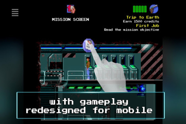 Flashback mobile screenshot with touch screen example.
