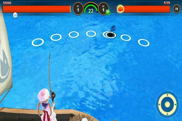 A player begins her FishIsland adventure, attempting to catch her first fish