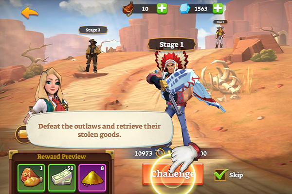 Players challenge foes one after the other in a linear side mission.