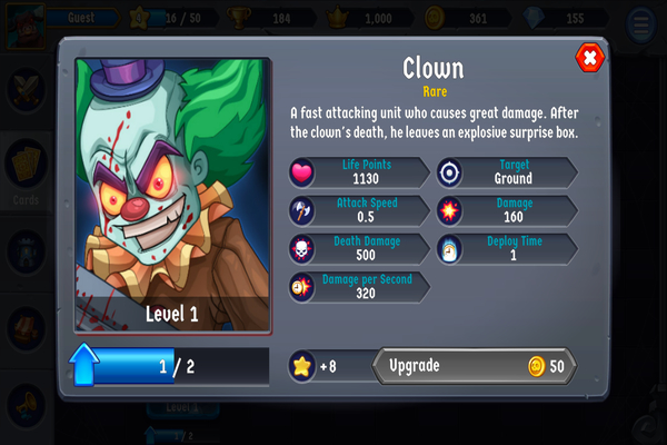 Android Spooky Wars Character Screen
