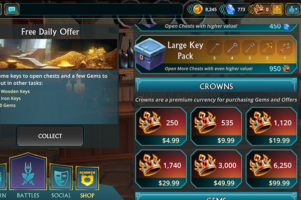 Puzzle Quest 3 key packs and crowns