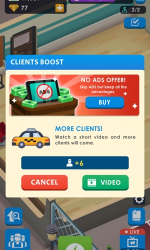 Idle Barber Shop Tycoon ad prompt
