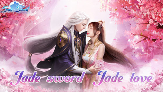 long haired man and woman embracing jade sword