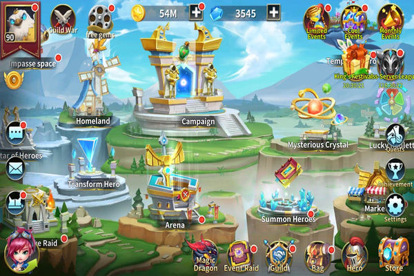 view of the main hub in game